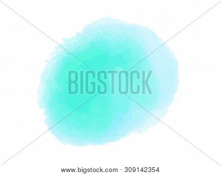 Colorful Digital Spot On Isolated White Background. Colored Aquarelle Blotch. Hand Drawn Watercolour