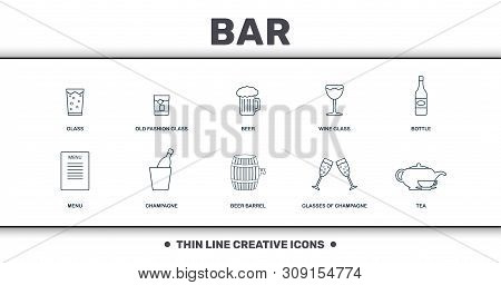 Bar And Restaurant Icons Set Collection. Includes Creative Elements Such As Glass, Whiskey Glass, Be