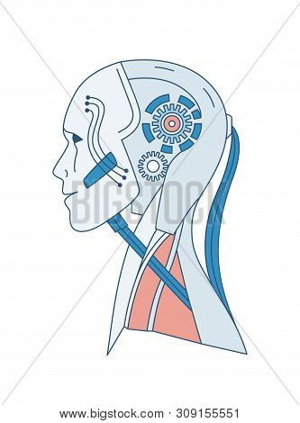 Schematic portrait of robot or android isolated on white background. Artificial intelligence, cyber consciousness, hi tech innovation, futuristic technology. Vector illustration in line art style. poster