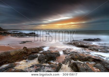 Rocky landscape of Atlantic ocean in Ballybunion, Ireland