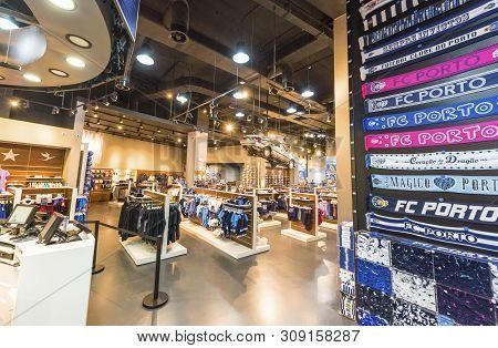 Porto, Portugal - April 2018: Rich Choice In The Fan Shop At Estadio Do Dragao Stadium