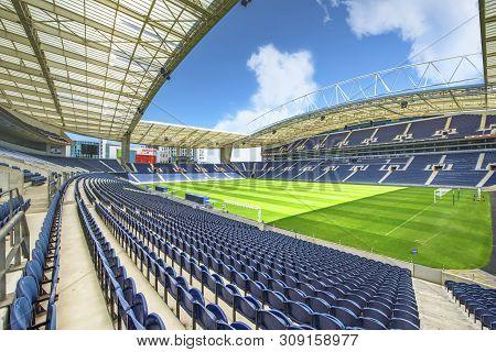 Porto, Portugal - April 2018:  Overview On Estadio Do Dragao Stadium