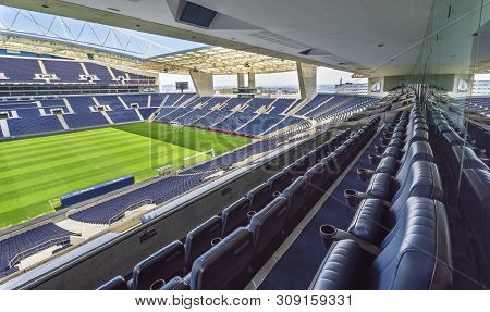 Porto, Portugal - April 2018: Vip Tribune At  Estadio Do Dragao Stadium
