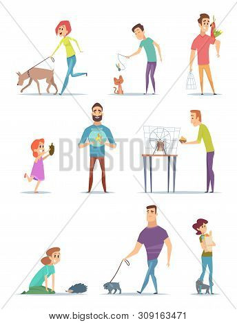 Animal Owners. Happy Domestic Pets With Young Male And Female Holders Animals Cats Dogs Walking Vect