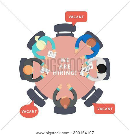 Business Team Looking For Employees. Vacant, We Are Hiring Vector Concept. We Hiring To Job In Team,