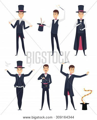 Magician. Circus Showman Actor Male Illusionist Vector Cartoon Characters. Magician And Illusionist,