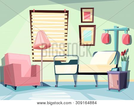 Hospital Room. Medical Empty Interior With Couch Chair Ambulatory Bed Vector Illustrations. Room War