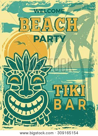 Tiki Bar Poster. Hawaii Beach Summer Party Invitation Tiki Tribal Wooden Masks Vector Retro Placard.
