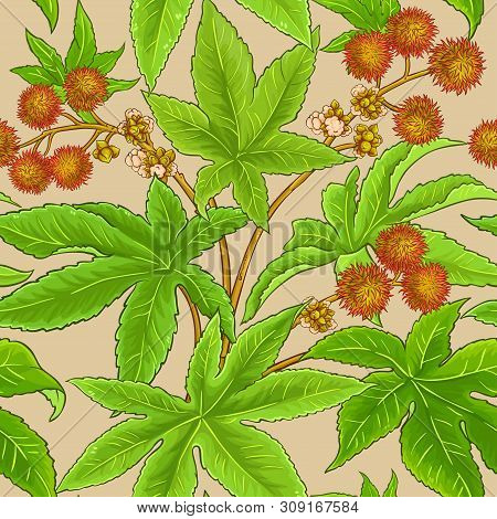Castor Branches Vector Pattern On Color Background