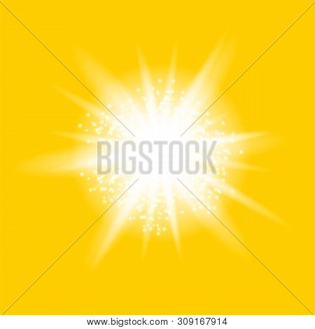 Sparkling Star, Glowing Light Explosion. Starburst With Sparkles On Yellow Background.
