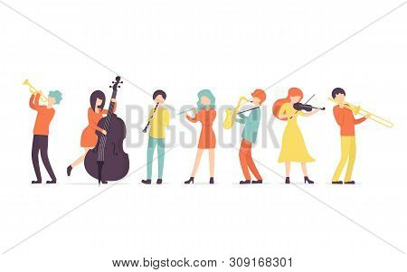 Flat Vector Background In A Flat Style Of Group Of Musicians, Playing Clarinet, Saxophone, Trumpet,