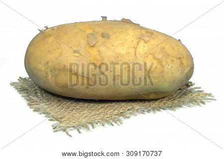 Fresh Potato On A Square Of Hessian