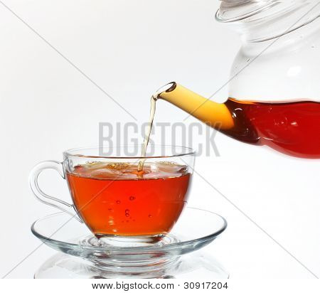 Pouring tea to teacup