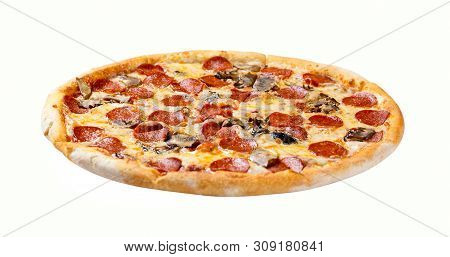Italian Cuisine. Fresh Pepperoni Pizza. Salami And Mushrooms Pizza Isolated On White Background.