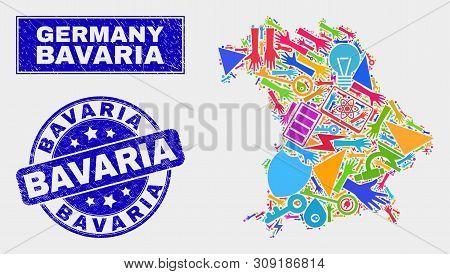 Mosaic Tools Bavaria Land Map And Bavaria Seal Stamp. Bavaria Land Map Collage Designed With Random