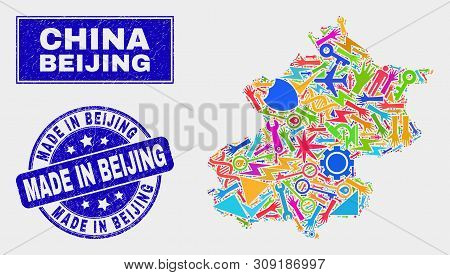 Mosaic Service Beijing City Map And Made In Beijing Seal Stamp. Beijing City Map Collage Made With R