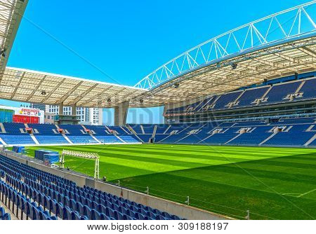 Porto, Portugal - April 2018: View Estadio Do Dragao Arena On A Sunny Day