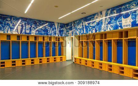 Porto, Portugal - April 2018: Changing Room At Estadio Do Dragao Arena
