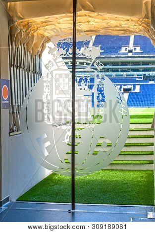Porto, Portugal - April 2018: Exit On To The Grounds At Estadio Do Dragao Arena