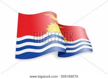 Kiribati Flag In The Wind. Flag On White Vector Illustration