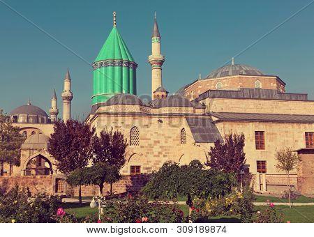 Mevlana museum mosque in Konya. The mausoleum of Jalal ad-Din Muhammad Rumi  poster