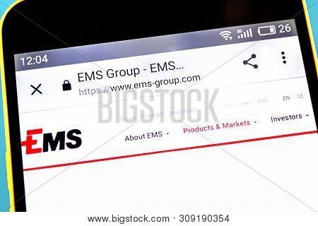 Berdyansk, Ukraine - 3 May 2019: Illustrative Editorial Of Ems-chemie Holding Website Homepage. Ems-
