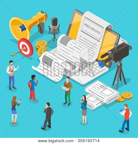 Isometric Flat Vector Concept Of Internet Press Release, News Article Service.