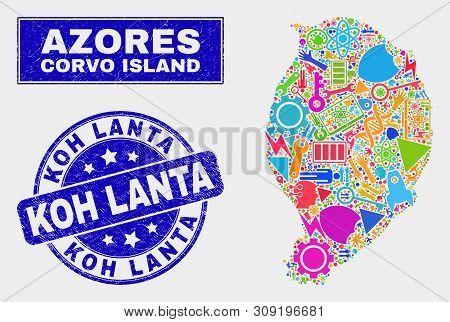 Mosaic Service Corvo Island Map And Koh Lanta Stamp. Corvo Island Map Collage Created With Randomize