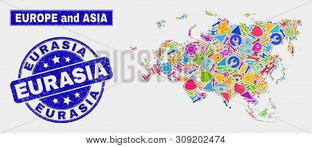 Mosaic Service Europe And Asia Map And Eurasia Seal. Europe And Asia Map Collage Constructed With Ra