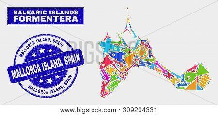 Mosaic Service Formentera Island Map And Mallorca Island, Spain Seal Stamp. Formentera Island Map Co