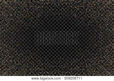 Gold Glitter Texture On Transparent Background. Gold Glitter Confetti. Golden Grainy Abstract Textur