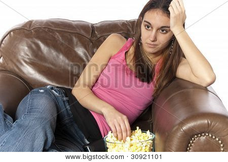 Watching Tv Eating Popcorn And Relaxing