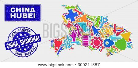 Mosaic Service Hubei Province Map And China, Shanghai Seal Stamp. Hubei Province Map Collage Constru