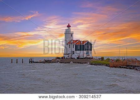 Traditional lighthouse 'Het Paard van Marken' in Marken the Netherlands