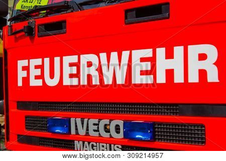 Peine / Germany - June 22, 2019: Iveco Magirus Rotating Ladder From German Fire Department Peine Sta