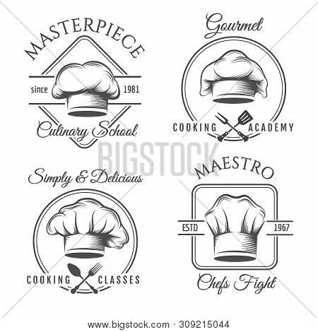 Chef Hat Label Set. Gourmet Chef Food Vector Emblems, Chefs Kitchen Workshop Or Cooking Club Labels