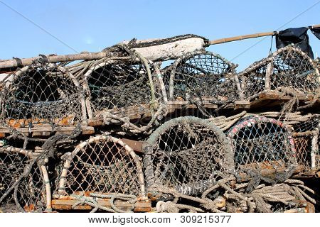 Lobster pots and creels, Scarborough harbor, England.