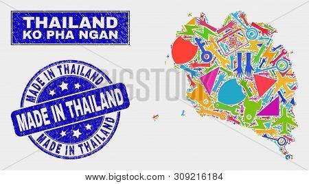 Mosaic Service Ko Pha Ngan Map And Made In Thailand Seal. Ko Pha Ngan Map Collage Constructed With R