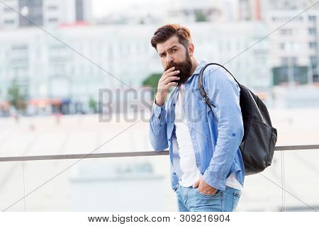 I Prefer Active Vacation. Hipster On Vacation Travel. Bearded Man Travelling With Backpack On Summer