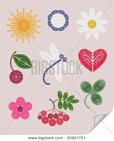 Embroidery elements set: sun cherry flower trefoil chamomile. poster