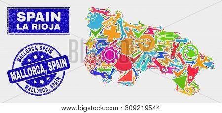 Mosaic Tools La Rioja Of Spain Map And Mallorca, Spain Watermark. La Rioja Of Spain Map Collage Made