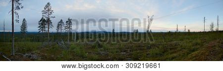 Panoramic View At Dusk From Peak Of Granberget In Northern Sweden