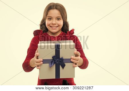 Happy Birthday Concept. Girl Kid Hold Birthday Gift Box. Every Girl Dream About Such Surprise. Birth