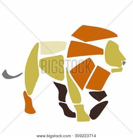 African Lion. Wild Savanna Animal. Contemporary Paper Cut Style. Hand Drawn Cartoon. Colorful Abstra