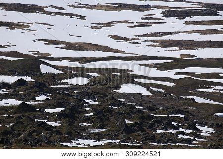 Snow Patches And Rocks At The Valley Karkevagge In Northern Sweden