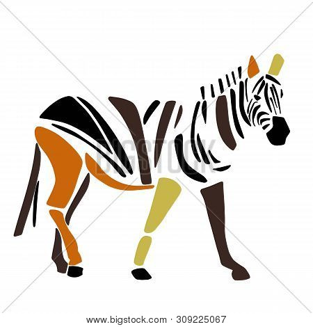 African Zebra. Wild Savanna Animal. Contemporary Paper Cut Style. Hand Drawn Cartoon. Colorful Abstr