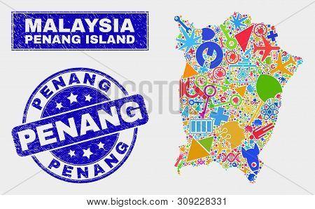 Mosaic Service Penang Island Map And Penang Seal Stamp. Penang Island Map Collage Created With Rando