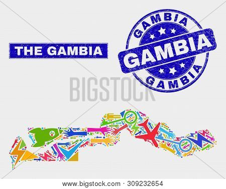Mosaic Service The Gambia Map And Gambia Seal Stamp. The Gambia Map Collage Composed With Random Col