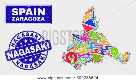 Mosaic Tools Zaragoza Province Map And Nagasaki Seal. Zaragoza Province Map Collage Created With Ran