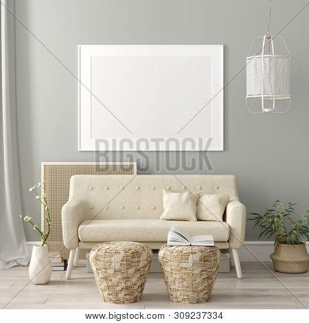 Mock Up Poster Frame In Living Room Interior. Interior Scandinavian Style. 3d Illustration